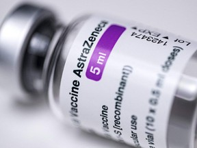 This file photo shows a vial of the AstraZeneca Covid-19 vaccine in Paris on March 11, 2021.