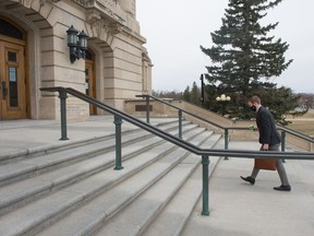 Saskatchewan Party MLA and Minister of Mental Health and Addictions Everett Hindley walks up the steps to the Saskatchewan Legislative Building in Regina, Saskatchewan on April 10, 2021. BRANDON HARDER/ Regina Leader-Post