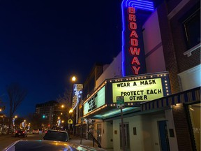 No one truly knows when laughter and applause will run rampant again at Saskatoon's beloved Broadway Theatre. A recent note from the staff and board said the venue remains closed for all public events due to the pandemic. (Photo by Molly Cone for the Saskatoon StarPheonix)