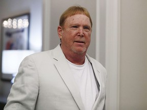 Oakland Raiders owner Mark Davis arrives to the NFL owners meeting on Wednesday, May 22, 2019, in Key Biscayne, Fla.
