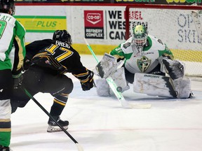 The Brandon Wheat Kings' Ridly Greig (17), shown facing Prince Albert goalie Max Paddock, was the first star in Monday's 3-2 victory over the Raiders at the Brandt Centre.