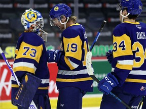 Nolan Maier (73), Wyatt McLeod (19) and Colton Dach (34), shown here after a 4-0 shutout win over the Prince Albert Raiders on March 29, were all named to the WHL's East Division team of the week for the final week of the regular season.