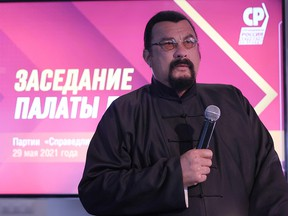 """Steven Seagal attends a meeting of the """"A Just Russia - For Truth"""" party in Moscow, Russia May 29, 2021."""