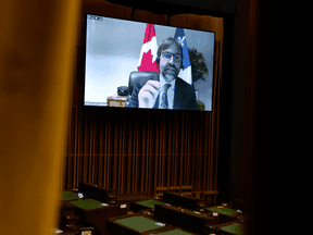 Canadian Heritage Minister Steven Guilbeault speaks via videoconference during question period in the House of Commons Monday, May 3, 2021.