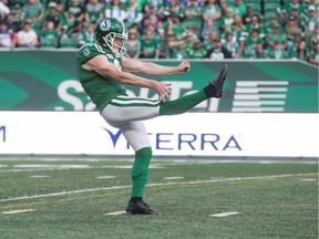 Saskatchewan Roughriders punter Jon Ryan, shown inj 2019, is concerned about the current state of the Canadian Football League.