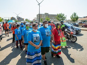 For the third year, the family of Ashley Morin, joined by the family of Megan Gallagher, embarks on a walk to North Battleford to bring awareness and support to families who have had loved ones murdered or go missing. Photo taken in Saskatoon, SK on Friday, July 9, 2021.