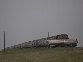 RCMP and fire crews respond to a collision between a train and a semi truck on Highway 16 outside Springside, Thursday, July, 22, 2021. Kayle Neis/Saskatoon StarPhoenix