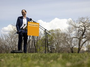NDP Leader Ryan Meili seen here at a May COVID-19 announcement remains a long ways away from the Saskatchewan premier's office.