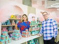 Yessenia Preza, left, and Benjamin Quattrini are the owners of The Shoppe, a gourmet candy and ice cream store. Photo taken in Saskatoon, SK on Friday, July 9, 2021.