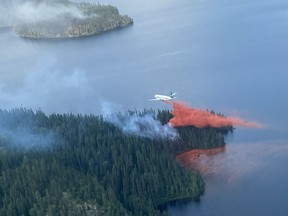 A fire team attacks a blaze from the air in northern Saskatchewan. The Saskatchewan Public Safety Agency (SPSA) was unable to provide further details. Photo provided by the SPSA on Friday, July 16, 2021. (Saskatoon StarPhoenix).