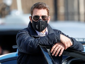 """Actor Tom Cruise is seen on the set of """"Mission Impossible 7"""" while filming in Rome, Italy, Oct. 13, 2020."""