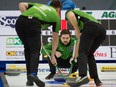 Matt Dunstone's foursome competes at the 2021 Brier in Calgary. Michael Burns/Curling Canada
