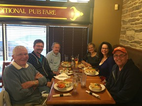 Esther Hamilton, third from left, at dinner wth family and friends in Ottawa in 2017. Also shown are Bill Hamilton (far left), Ian Hamilton (second from left), Carolyn Hamilton (third from right), Chryssoula Filippakopoulos (second from right) and Rob Vanstone (far right).