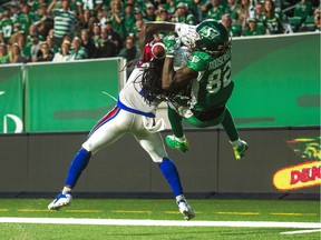 Naaman Roosevelt, 82, makes a touchdown catch for the Saskatchewan Roughriders against the Montreal Alouettes on June 30, 2018 at Mosaic Stadium. Roosevelt is now a member of the Winnipeg Blue Bombers.