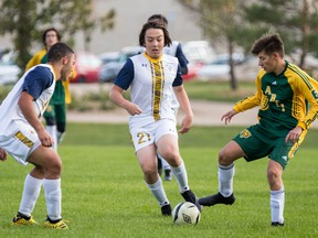 Soccer season is in full swing in Saskatoon. Some early season action between the Aden Bowman Bears and Evan Hardy Souls on September 15, 2021. Photo by Victor Pankratz.