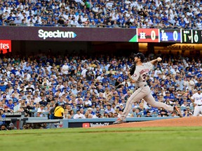 Justin Verlander of the Houston Astros throws a pitch during Game 2 of the World Series at Dodger Stadium on Oct. 25, 2017. (Kevork Djansezian/Getty Images)