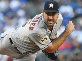Justin Verlander of the Houston Astros during Game 2 of the World Series (AP)