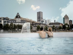 The view from Montreal's Bota-Bota Spa, which is located in a transformed ferry docked at the Old Port. The Nordic-style spa has cold and warm pools plus other spa amenities. CANADIAN TOURISM COMMISSION PHOTO