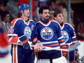 Wayne Gretzky, Grant Fuhr and Andy Moog of the 1980s Edmonton Oilers.