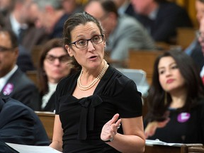 Minister of Foreign Affairs Chrystia Freeland stands during question period in the House of Commons on Parliament Hill in Ottawa on Monday, Nov. 27, 2017. THE CANADIAN PRESS/Sean Kilpatrick