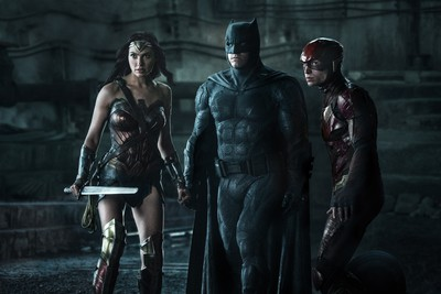 "(L-r) GAL GADOT as Wonder Woman, BEN AFFLECK as Batman and EZRA MILLER as The Flash in Warner Bros. Pictures' action adventure ""JUSTICE LEAGUE,"" a Warner Bros. Pictures release."