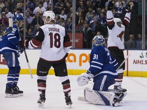 Arizona Coyotes celebrate a goal on the Toronto Maple Leafs at the Air Canada Centre on Nov. 20, 2017