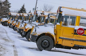 School buses sit ideal at Downsview Park in Toronto.