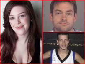 Dellen Millard (top right) and Mark Smich (bottom right) have been found guilty of first-degree murder in the death of Laura Babcock (left).