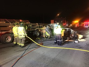 Emergency crews at the scene of a fatal collision on Hwy. 401 at Martin Grove on Monday, Dec. 11, 2017. (OPP_HSD)