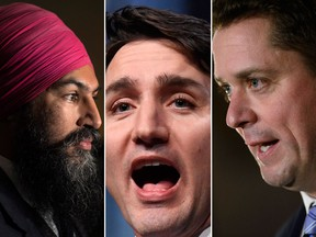 (From left to right) NDP Leader Jagmeet Singh, Liberal Prime Minister Justin Trudeau and Conservative Leader Andrew Scheer are seen in this combination shot.