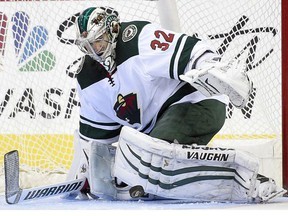 Minnesota Wild goalie Alex Stalock watches the puck during a game against the Washington Capitals on Nov. 18, 2017