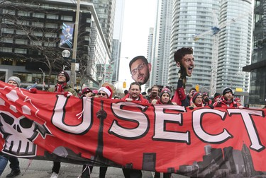 2017 MLS Championship parade on the downtown streets of Toronto. The Toronto FC team is greeted by thousands at Nathan Phillip's Square on Monday December 11, 2017. Veronica Henri/Toronto Sun/Postmedia Network