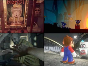 """Clockwise from upper left: """"What Remains of Edith Finch"""" (Annapurna Interactive); """"Night in the Woods"""" (Finji); """"Mario Odyssey"""" (Nintendo); """"Resident Evil VII"""" (Capcom). The Washington Post, The Washington Post"""