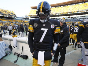 Ben Roethlisberger of the Pittsburgh Steelers reacts after losing to the Jacksonville Jaguars in the AFC Divisional Playoff game at Heinz Field on January 14, 2018 in Pittsburgh. (Kevin C. Cox/Getty Images)