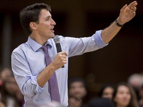 Prime Minister Justin Trudeau speaks at a town hall event at Western University in London, Ont., on Thursday, January 11, 2018. Trudeau launched a revamped youth service program this morning pledging $105 million over the next three years to help Canadian youth volunteer in their communities.