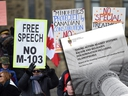Protesters rally over motion M-103, the Liberal anti-Islamophobia motion, on Parliament Hill in Ottawa on March 21, 2017.