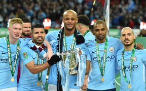 Manchester City celebrates after defeating Arsenal to win the Carabao League Cup.  (GETTY IMAGES)
