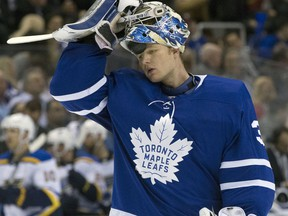 Toronto Maple Leafs goaltender Frederik Andersen during a game against the St. Louis Blues at the Air Canada Centre on Jan. 16, 2018