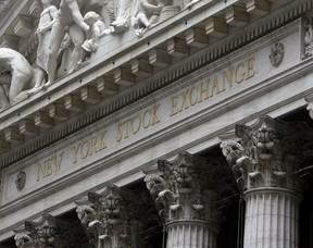 This Oct. 2, 2014, file photo shows the facade of the New York Stock Exchange. The U.S. stock market opens at 9:30 a.m. EST on Thursday, Feb. 8 2018.