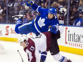 Toronto Maple Leafs forward Matt Martin during a game against the Colorado Avalanche at the Air Canada Centre on Jan. 22, 2018