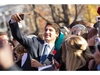 Prime Minister Justin Trudeau takes a selfie as he greets the crowd outside Rideau Hall after being sworn in as Canada's 23rd Prime Minister in Ottawa, Ontario, November 4, 2015.    AFP PHOTO/ GEOFF ROBINSGEOFF ROBINS/AFP/Getty Images