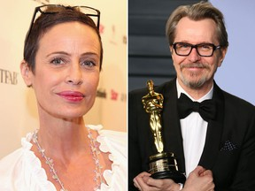 Donya Fiorentino and Gary Oldman, with his Best Actor Oscar for The Darkest Hour, are seen in a combination shot. (Jonathan Leibson/Getty Images for Star Magazine/JEAN-BAPTISTE LACROIX/AFP/Getty Images)