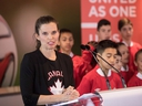 Minister of Science, Sport and Persons with Disabilities Kirsty Duncan announces Canada's participation in a joint bid alongside Mexico and the United States to co-host the 2026 FIFA World Cup during a news conference, in Toronto on March 13, 2018