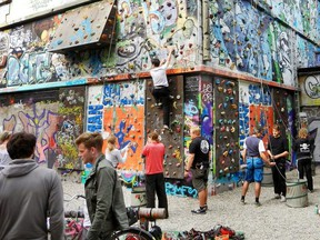 Hamburg creatively recycles its urban past: This graffiti-covered WWII bunker is now the largest climbing wall in the city. RICK STEVES PHOTO