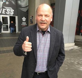 Leafs legend Wendel Clark was out cheering for the blue and white on Thursday night. (JOE WARMINGTON, Toronto Sun)