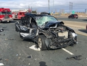 A vehicle damaged in a collision on Hwy. 401 at Winston Churchill on Thursday, April 19, 2019. (OPP_HSD)
