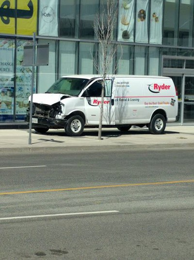 A Ryder van believed to have hit multiple pedestrians on Yonge St. in Toronto on April 23, 2018. (Ross McLean)