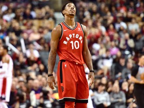 Toronto Raptors guard DeMar DeRozan reacts after missing a shot during NBA action against the Washington Wizards in Toronto on Nov. 5, 2017