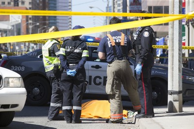 9 people were killed on Yonge Street between Finch and Sheppard in Toronto's North York area after a van struck dozens of people this afternoon,  on Monday April 23, 2018. Stan Behal/Toronto Sun/Postmedia Network