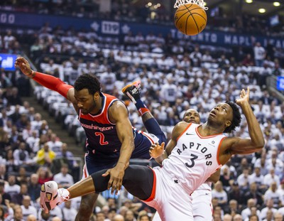 Toronto Raptors OG Anunoby during 1st half action against the Washington Wizards ohn Wall in Game 2 of the Eastern Conference - First Round at the Air Canada Centre in Toronto, Ont. on Tuesday April 17, 2018. Ernest Doroszuk/Toronto Sun/Postmedia Network